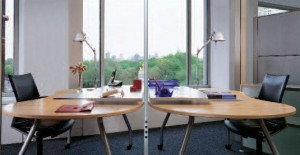 Wiremold PowerPole Extender in office environment.